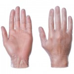 supertouch non-sterile clear vinyl disposable gloves (large) box of 100